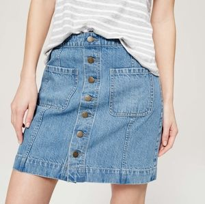 Loft buttons down denim skirt